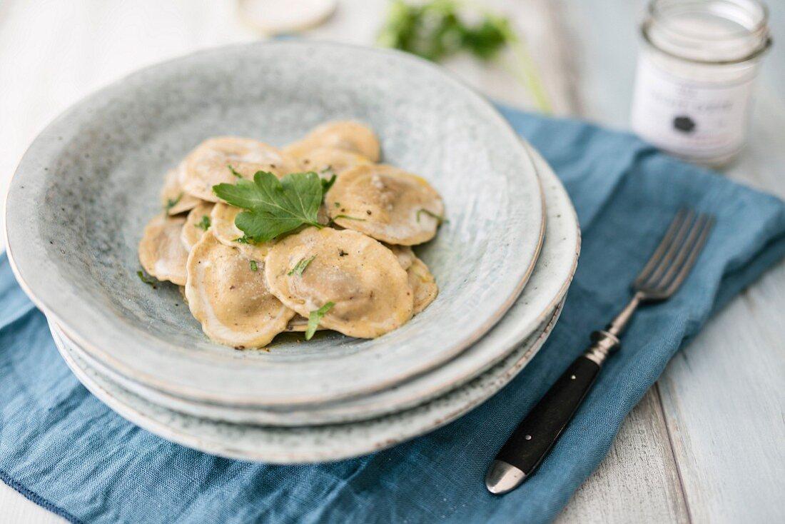 Porcini mushroom ravioli with truffle salt