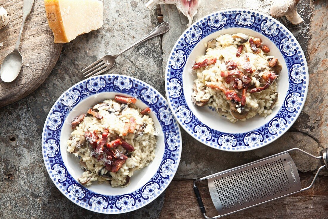 Mushroom risotto with pancetta and Parmesan cheese