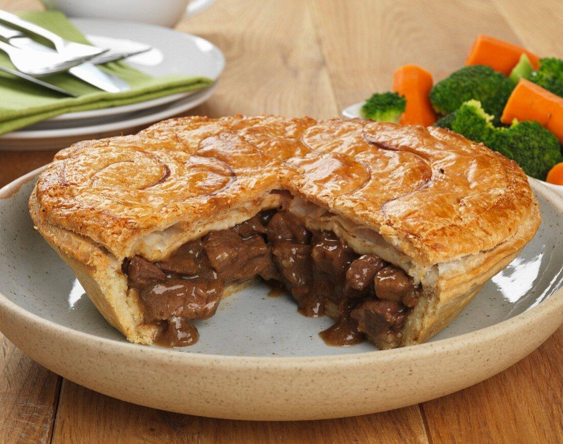 Steak and onion pie, sliced