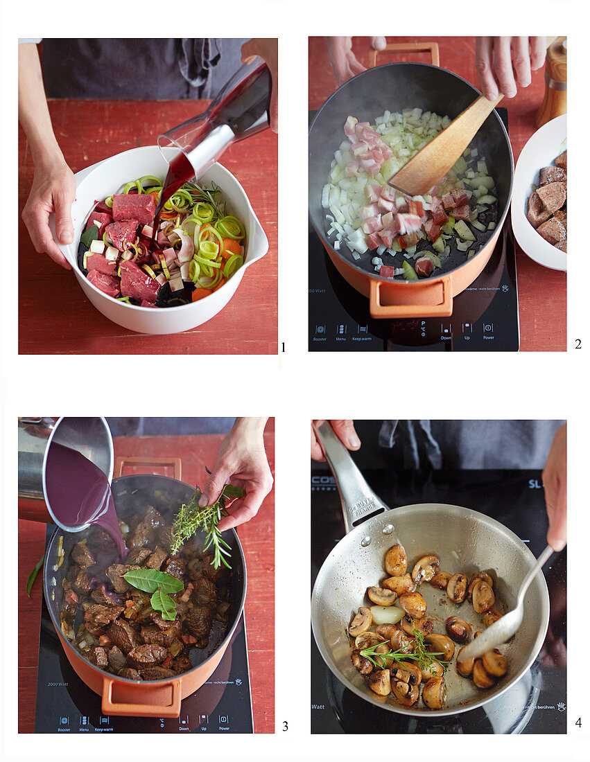 Boeuf Bourguignon with a shallot and mushroom medley being made