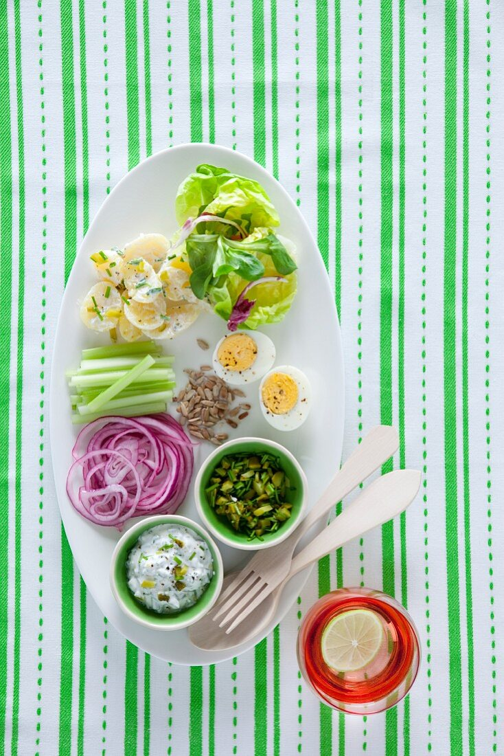 Potato salad with a chive dressing and egg