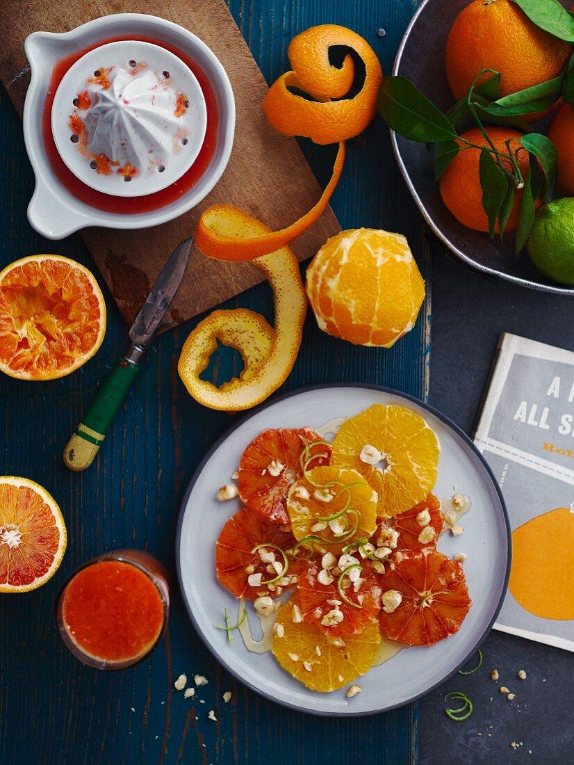 Orange juice and orange salad