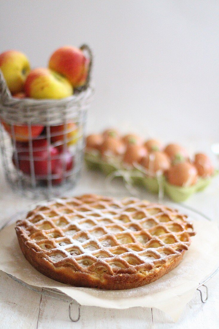 Apple cake on a wire rack