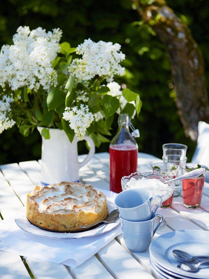 Baisertorte mit Rhabarber und Himbeersaft auf sommerlichem Gartentisch