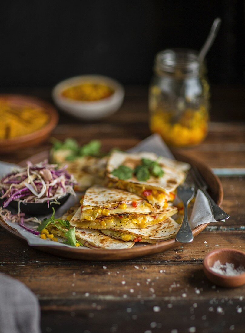 Quesadillas with a sweetcorn filling (Mexico)