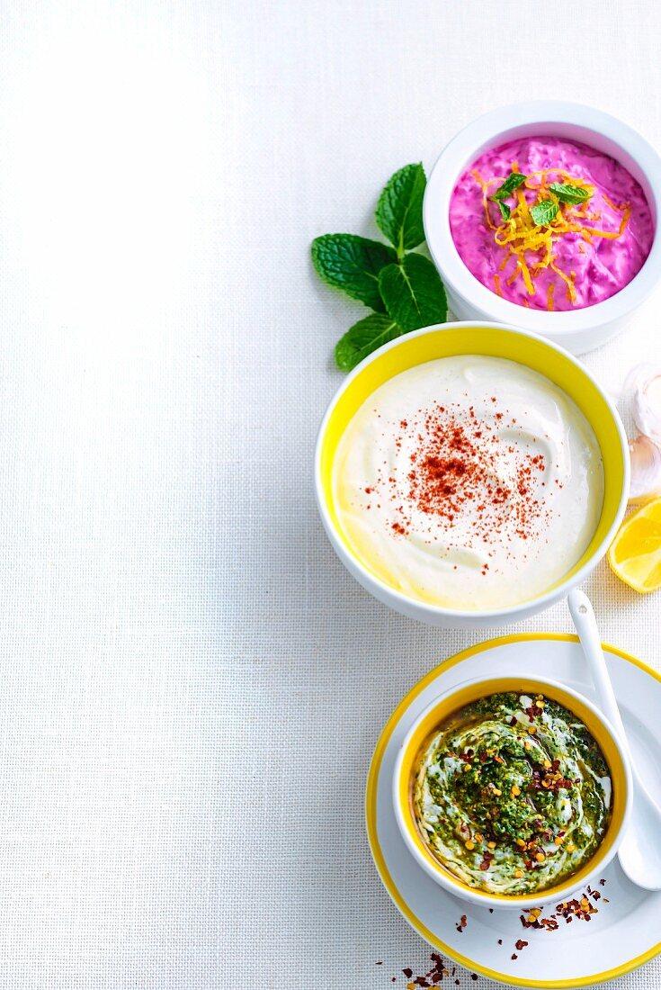 Three Yoghurt Sauces