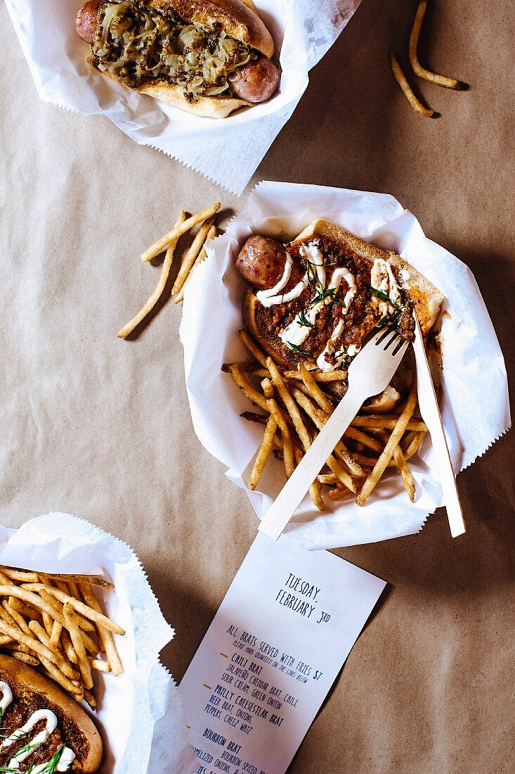 Chilli dogs and fries in a fast food restaurant