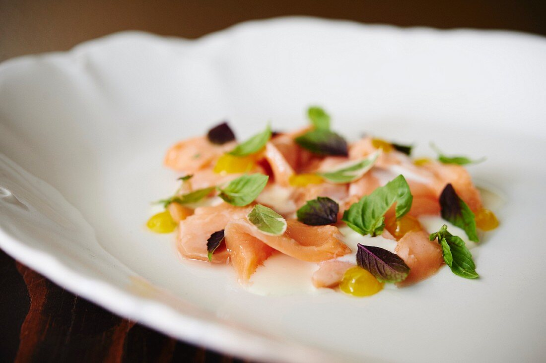 Poached salmon with basil