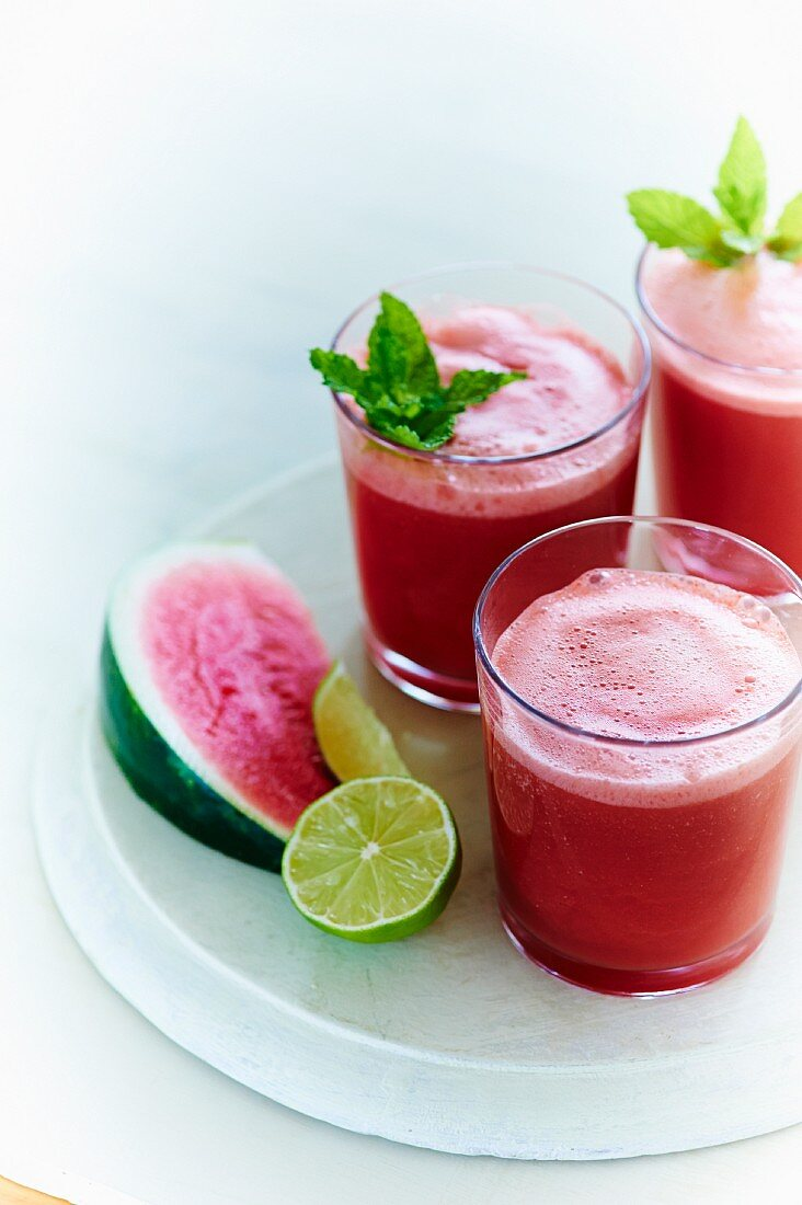 Aqua fresca made with watermelon, cucumber, lime juice and simple syrup