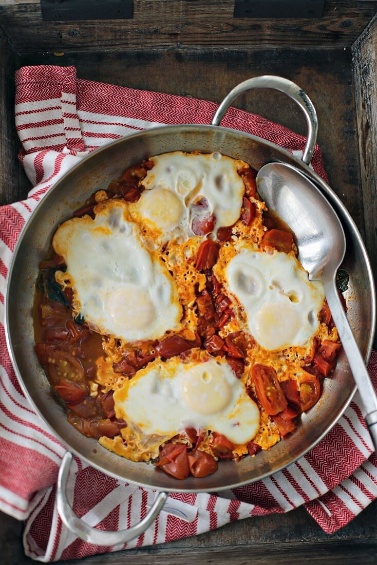 Shakshuka (poached eggs in tomato sauce, Middle East)