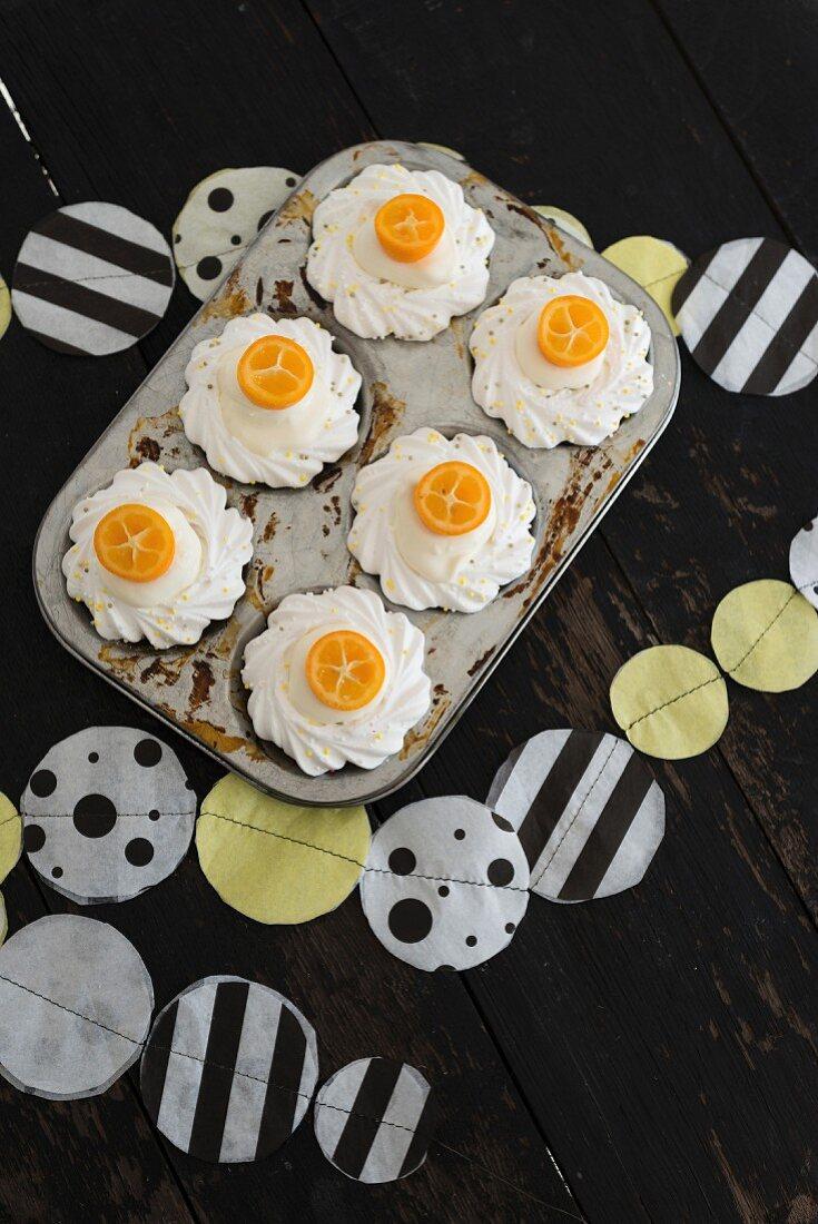 Kumquat cupcakes and homemade bunting