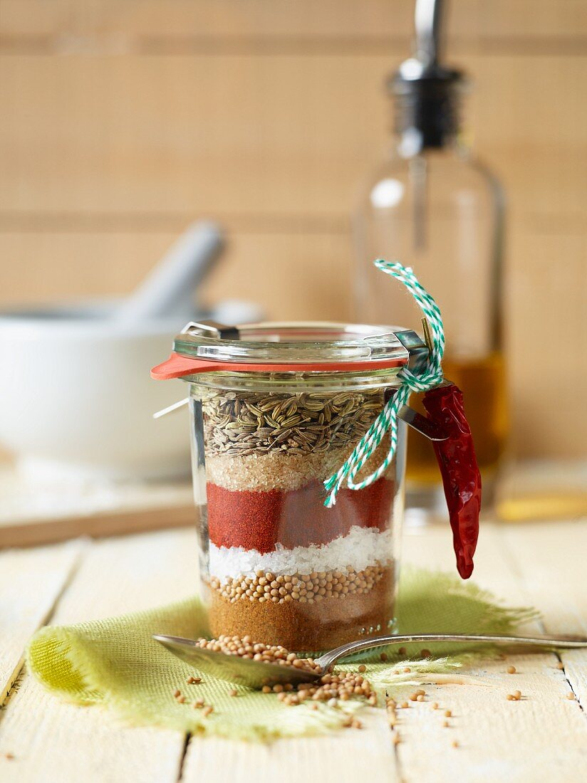 A spice mixture for a BBQ rub in a glass as a gift