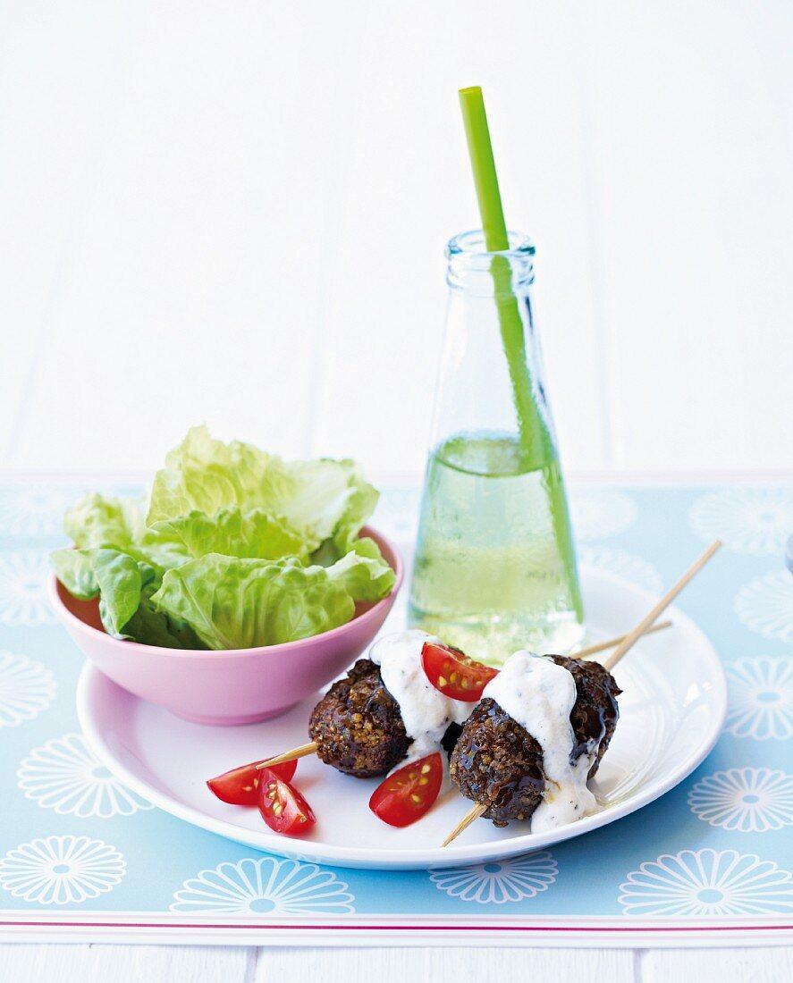 Turkish kofta with lettuce leaves