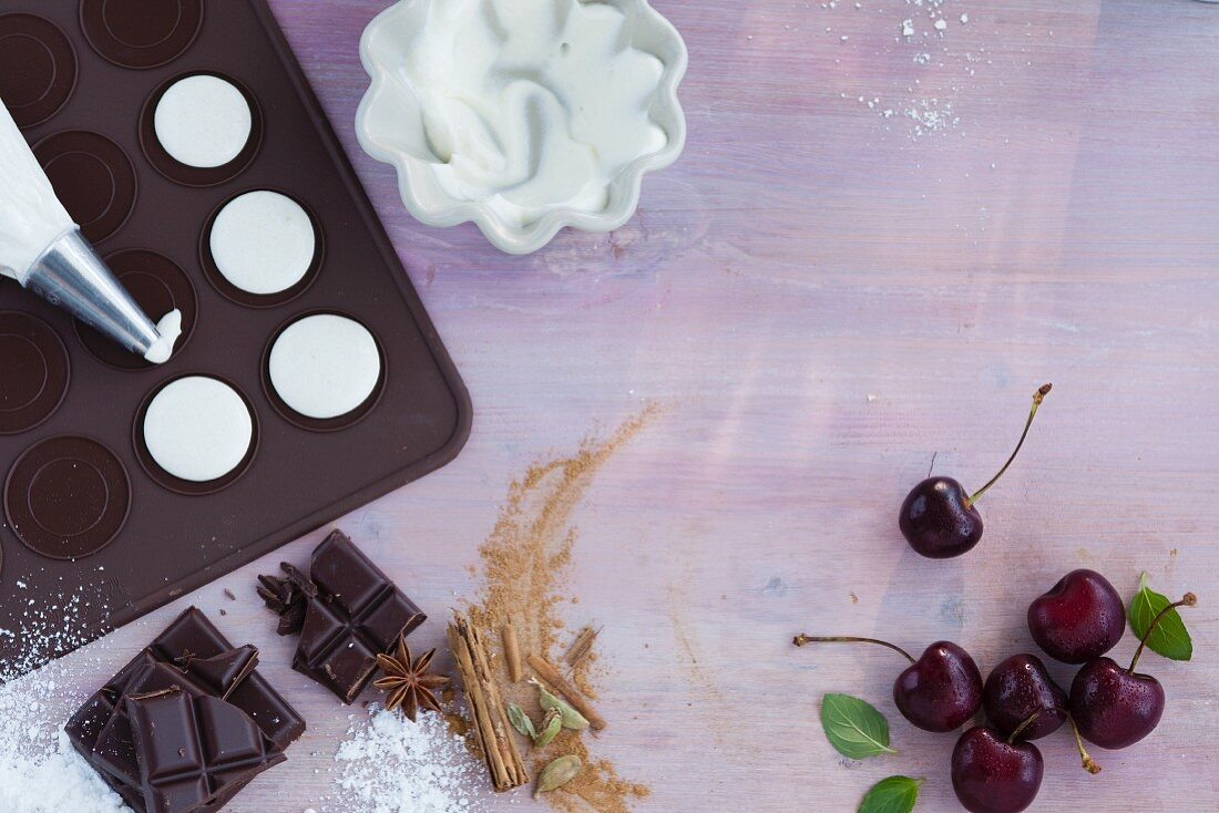 Ingredients for homemade macaroons