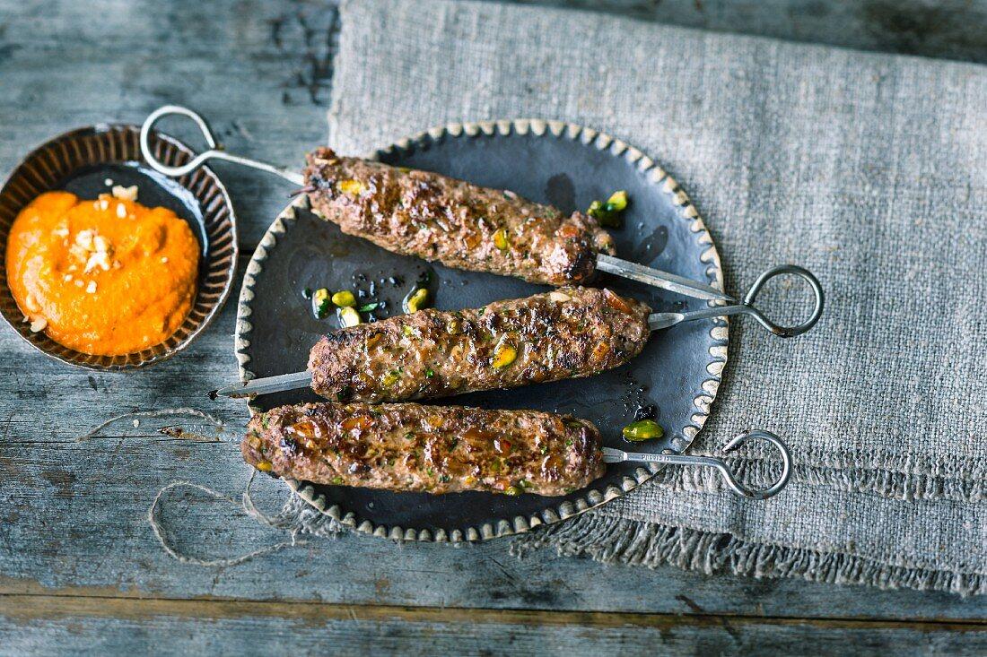 Kafta kebabs with muhammara