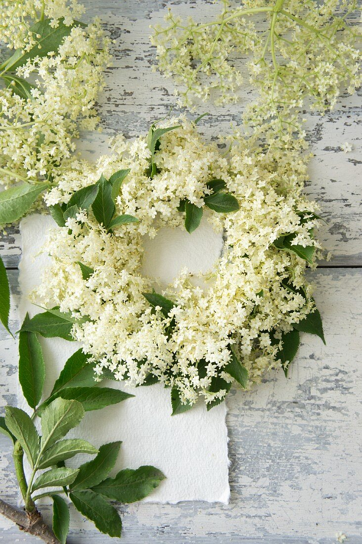 Hand-made elder wreath