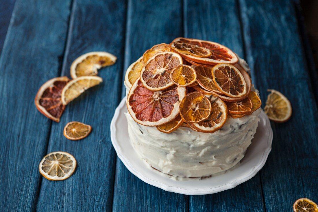 Citrus cake with dried citrus fruit slices