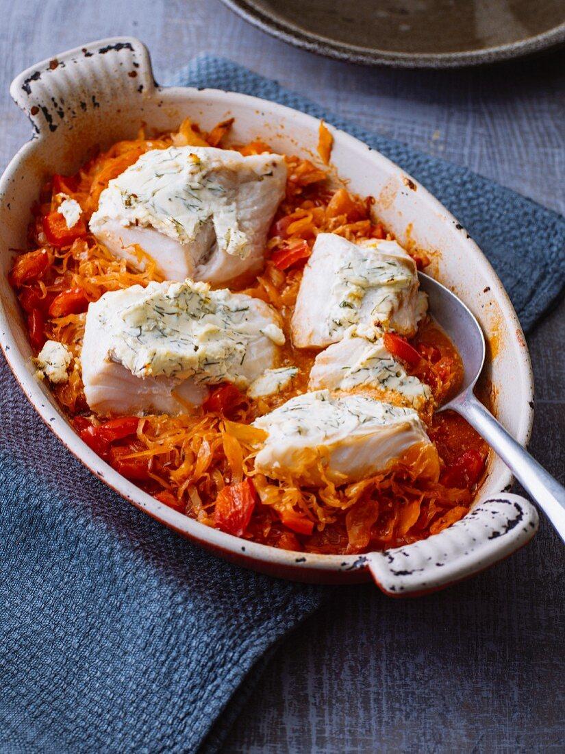 Cod fillet with herb cream cheese on sauerkraut