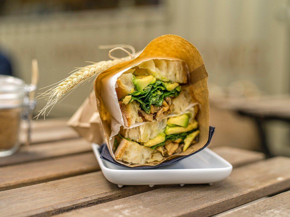 Take-away sandwiches in a restaurant