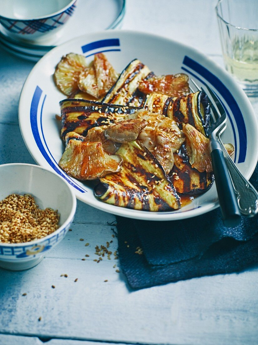 Grilled aubergines and oyster mushrooms with devil sauce