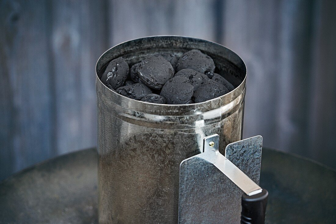 A chimney starter for briquettes