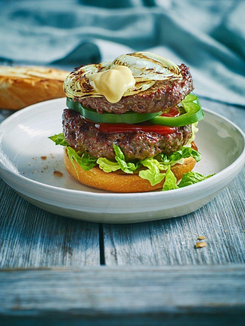 A grilled steak burger from Philadelphia