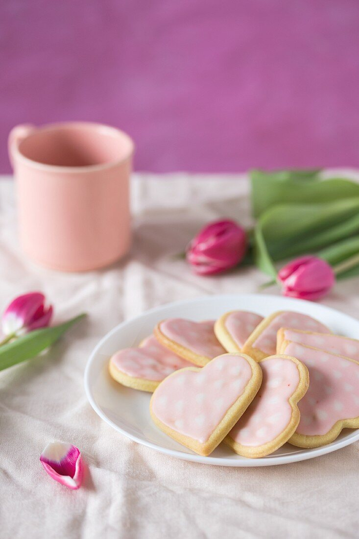 Pink heart-shaped biscuits for Mother's Day