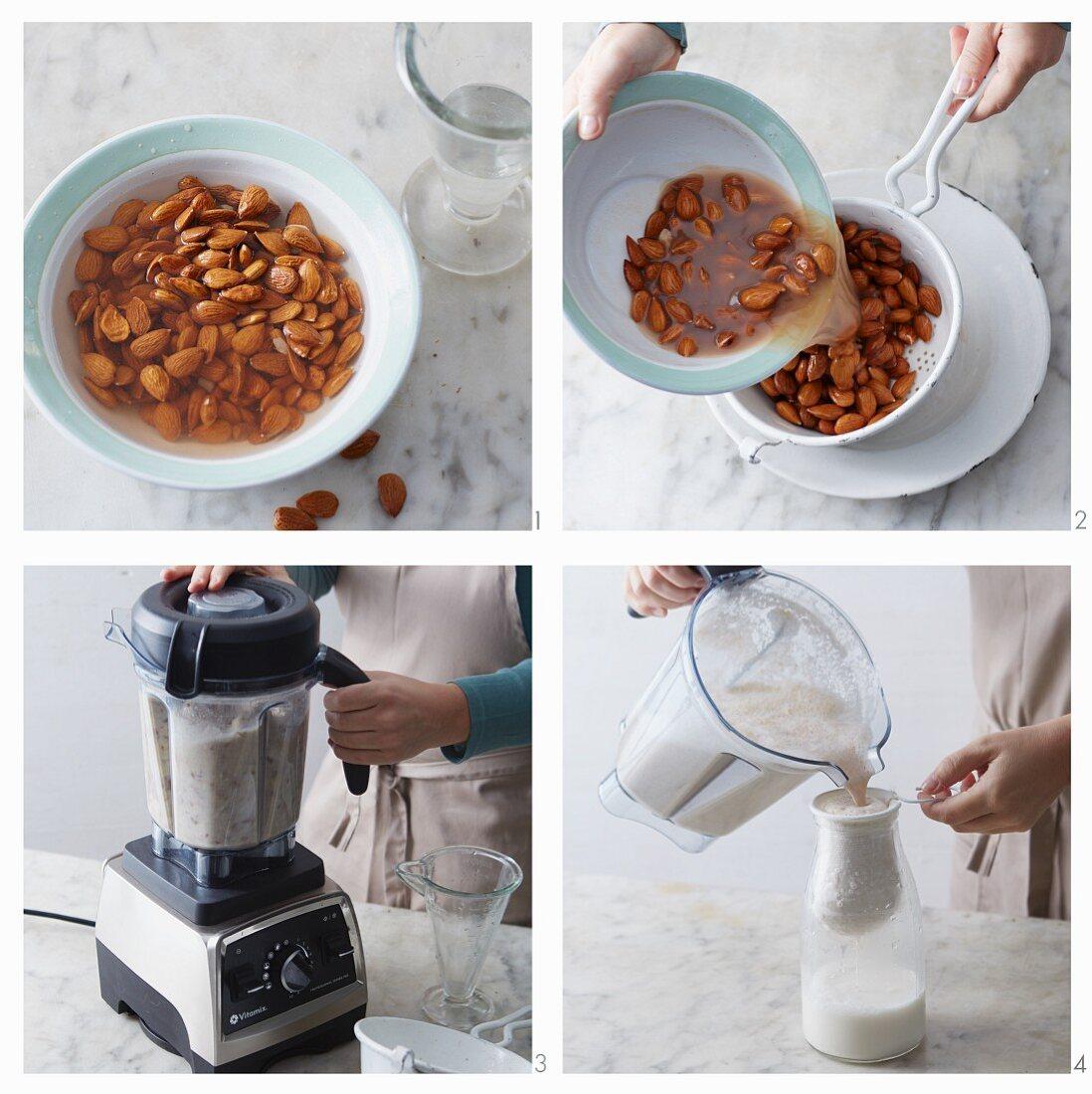 Vegan almond milk with dates being made