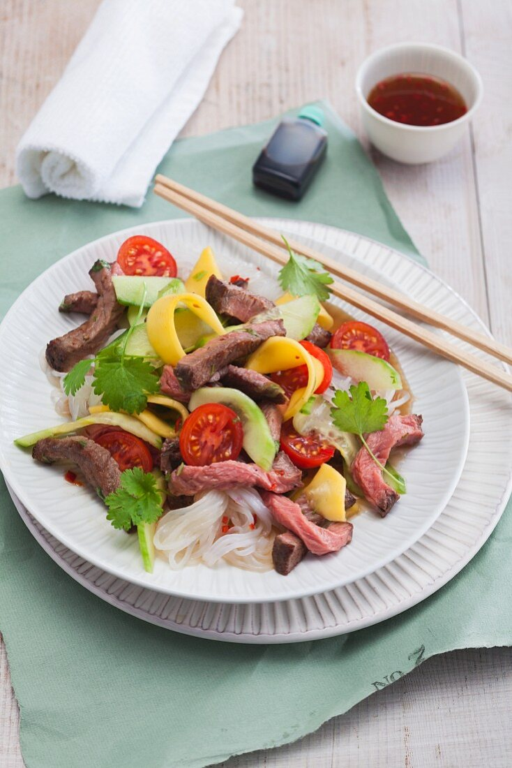 Thai beef salad with konjak pasta
