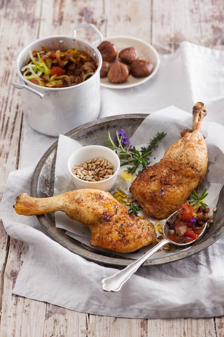 Oven-roasted chicken legs with Provençal vegetables