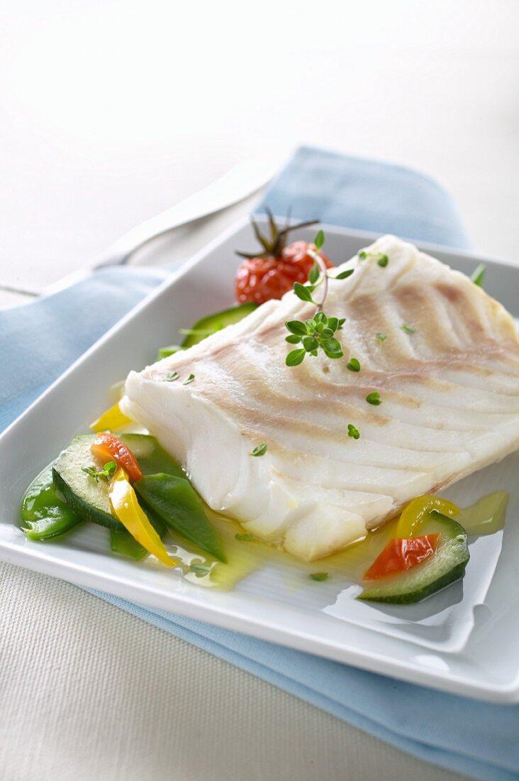 Cod fillet with spring vegetables