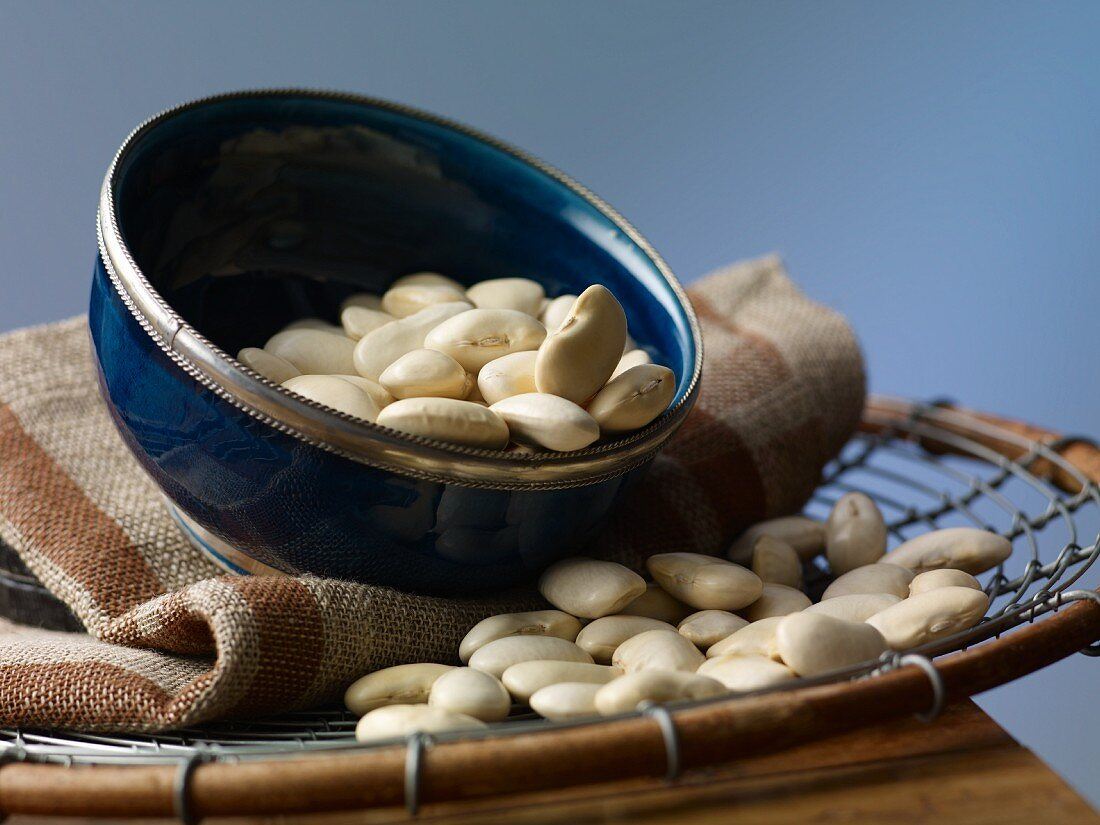 White beans in a bowl on a wire basket