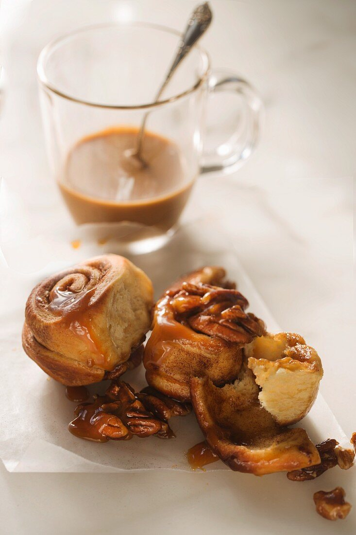 Pecan nut buns served with coffee