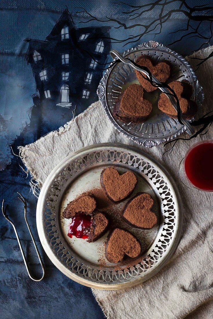 Bleeding chocolate hearts for Halloween