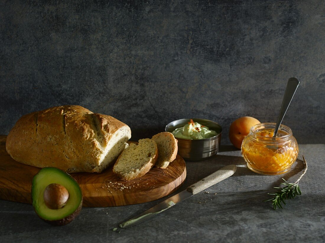 Spicy poppyseed bread with an avocado spread and an apricot spread