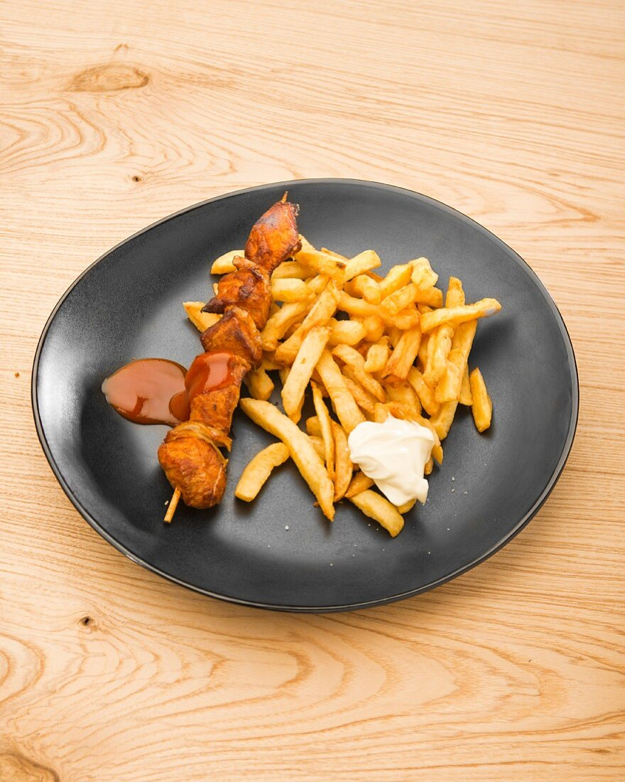 A meat kebab with chips (Brussels, Belgium)