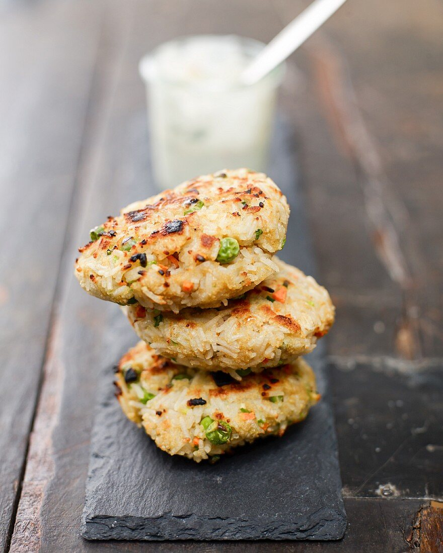 Rice fritters with a chilli-mayonnaise dip