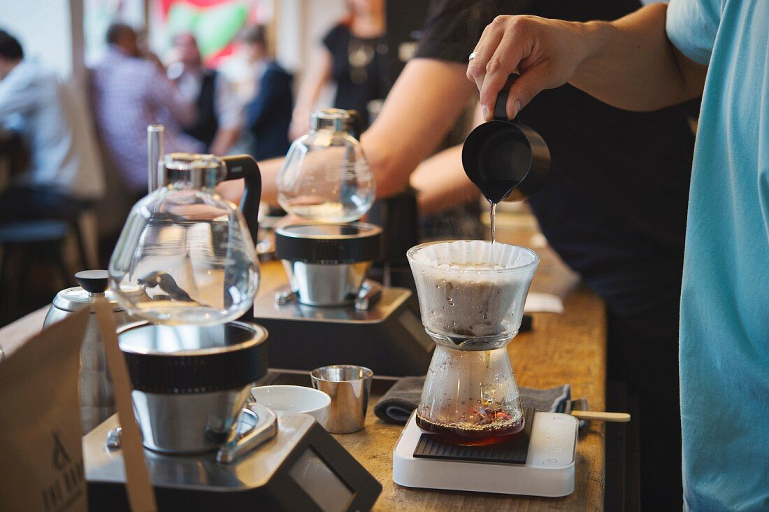 Filter coffee being brewed at the roasting house and cafe 'The Barn' in Berlin