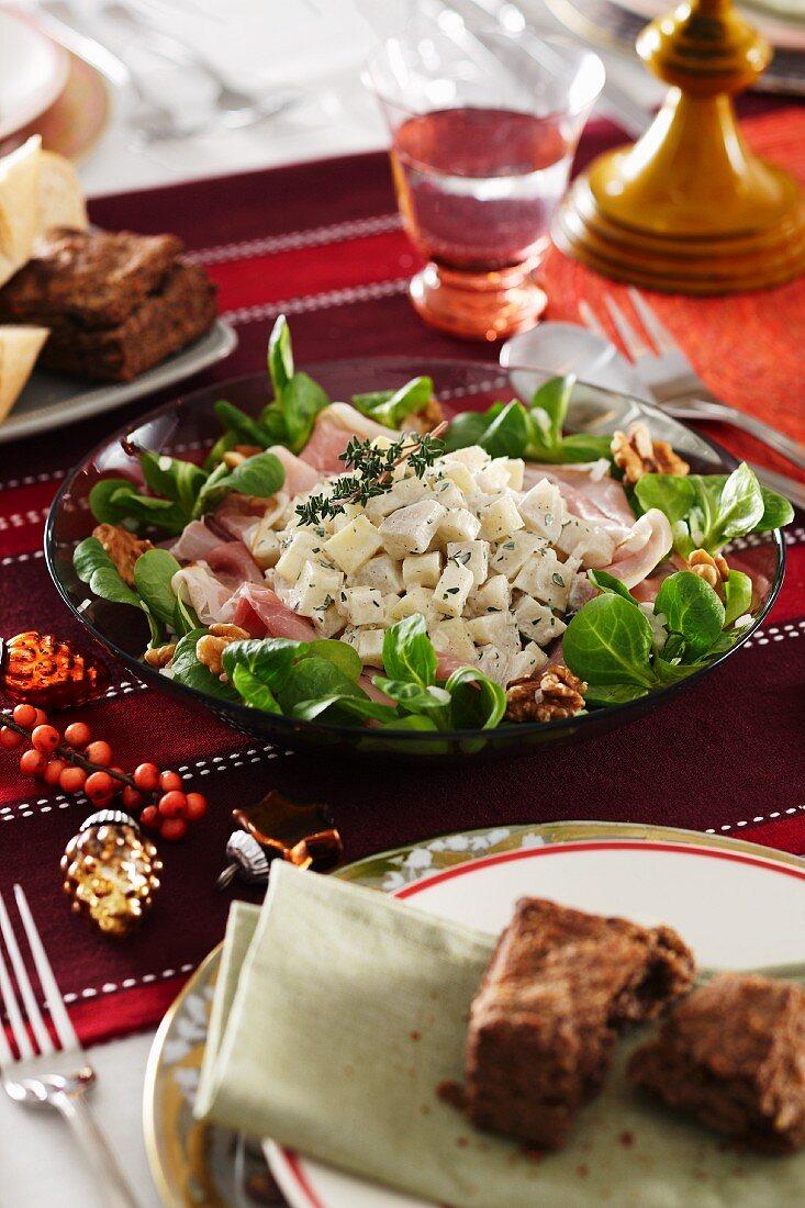 Celeriac and potato salad with ham and lambs lettuce