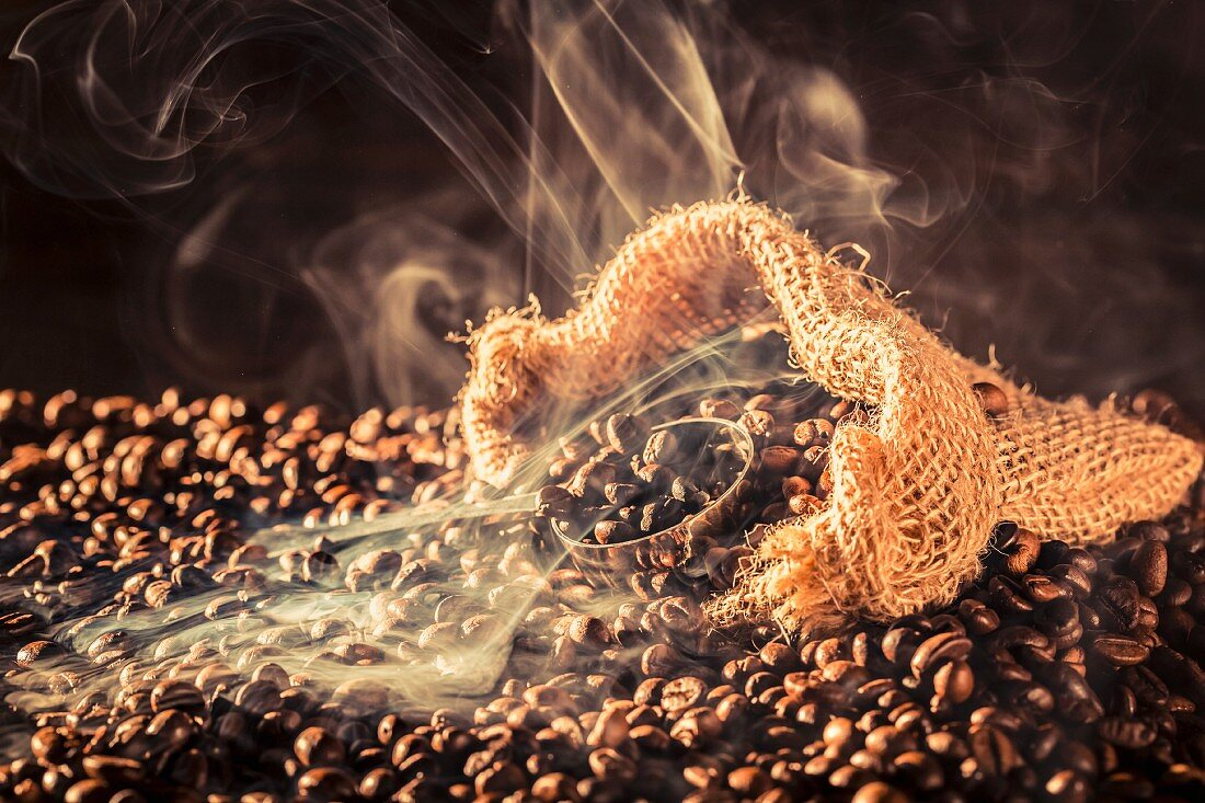 Aromatic coffee in an old sack