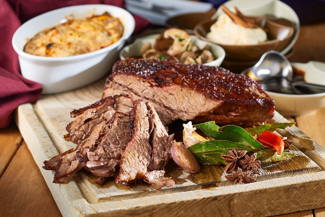 Beef tri-tip with sides