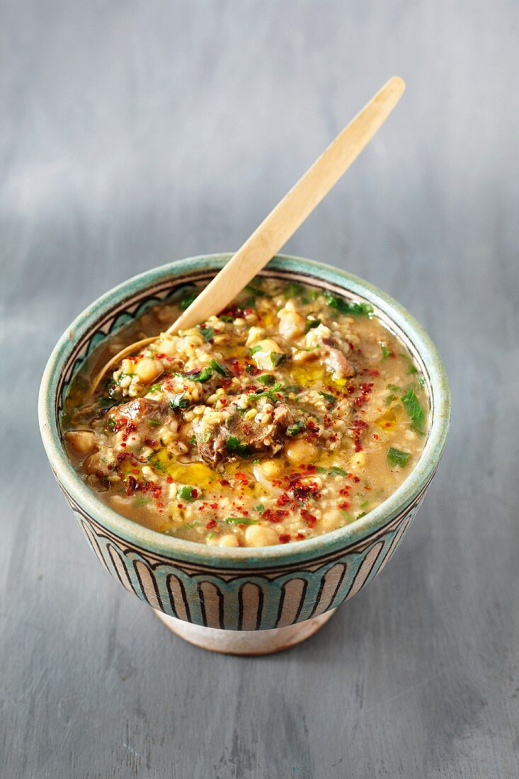 Spicy freekah soup with chickpeas
