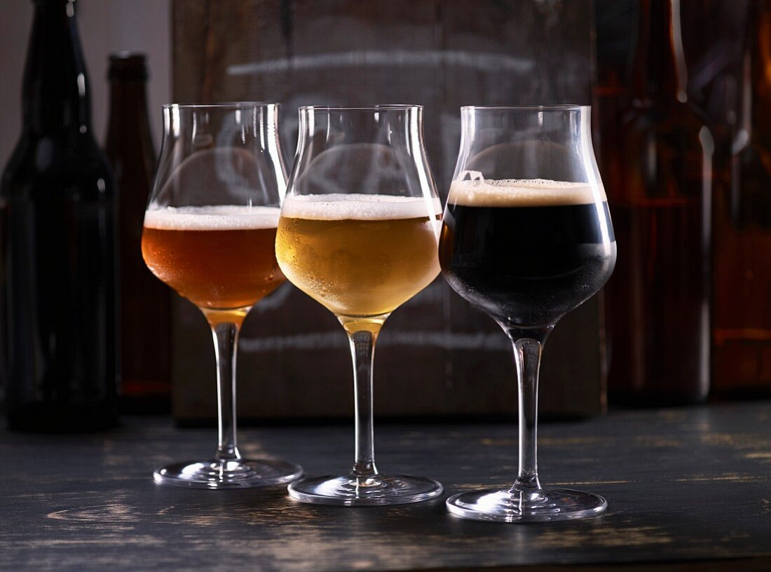 Three sorts of beer in glasses