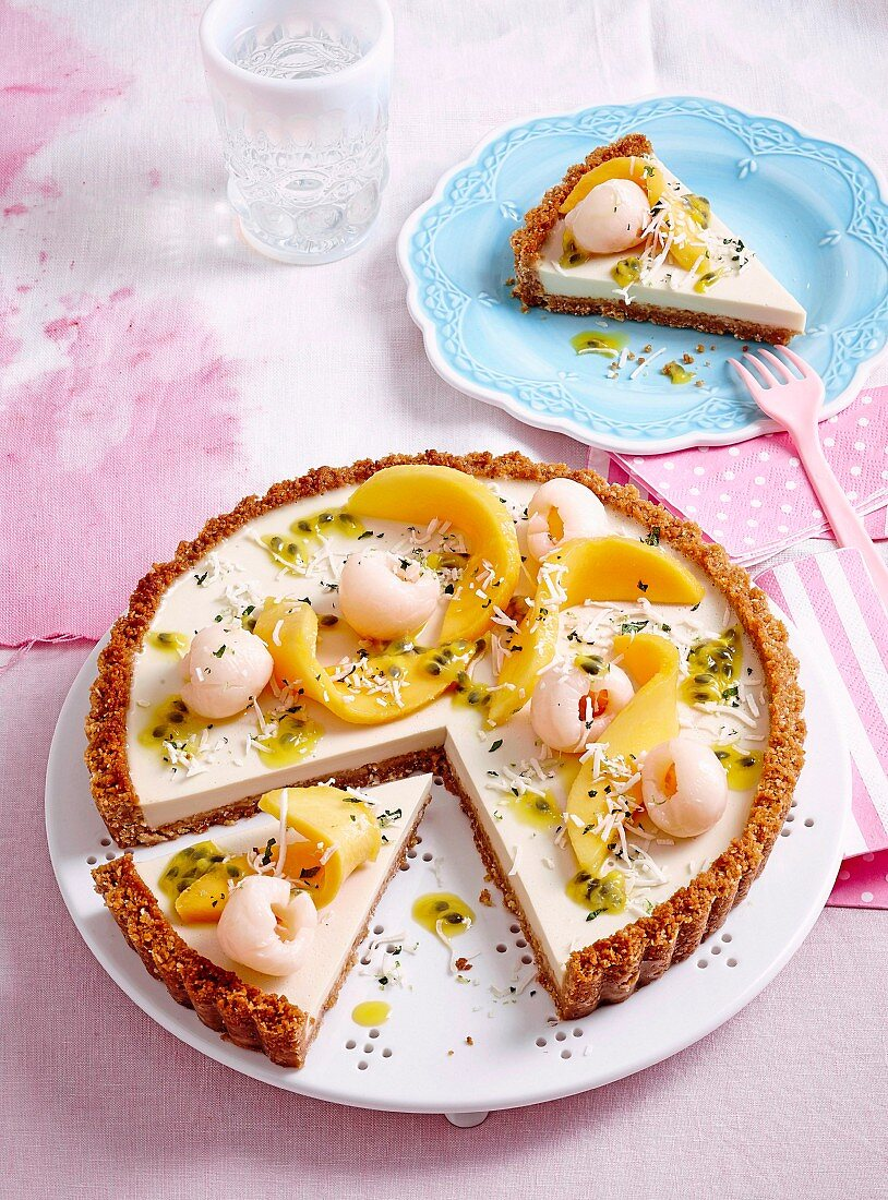 Coconut panna cotta tart with tropical fruit