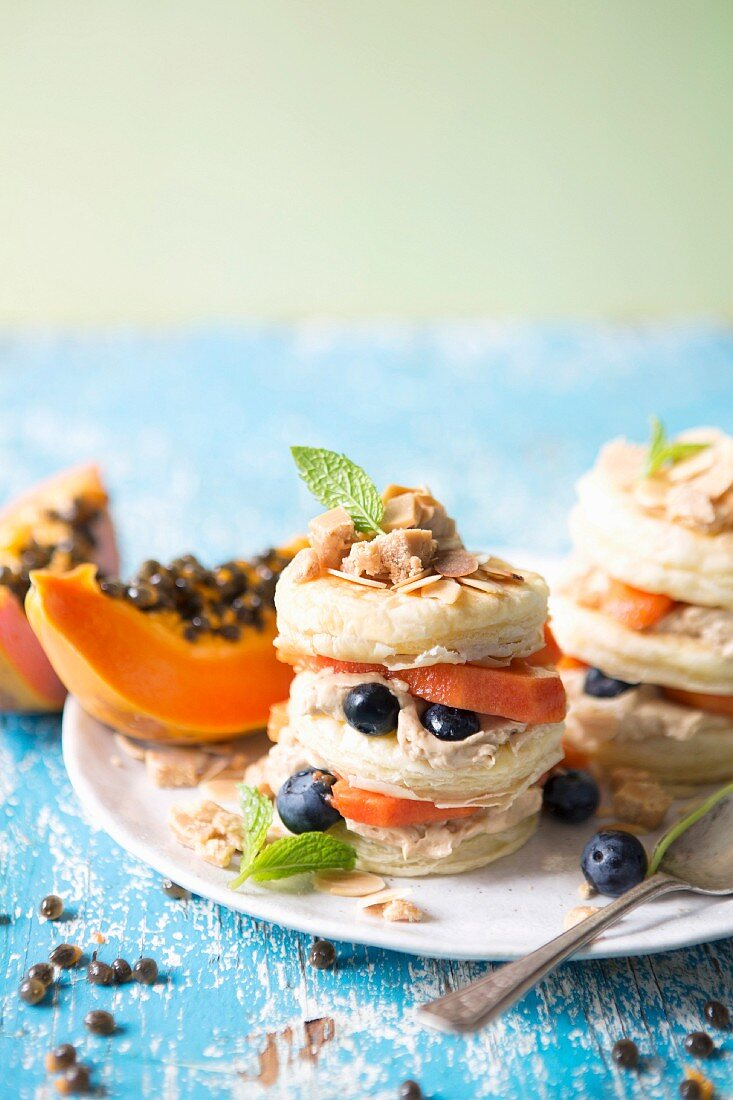 Papaya and blueberry mille-feuille with salted caramel cream