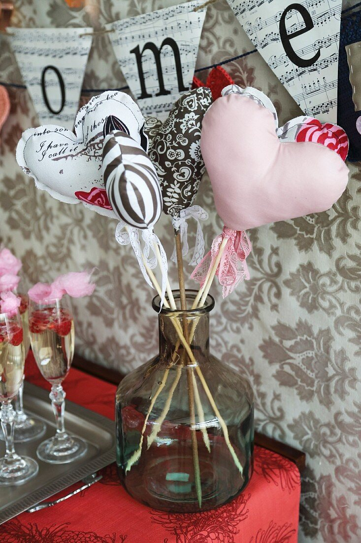Fabric heart's on sticks as Valentine's Day decorations