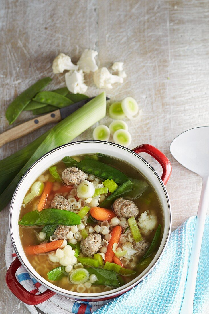 Noodle soup with vegetables and dumplings in a pot