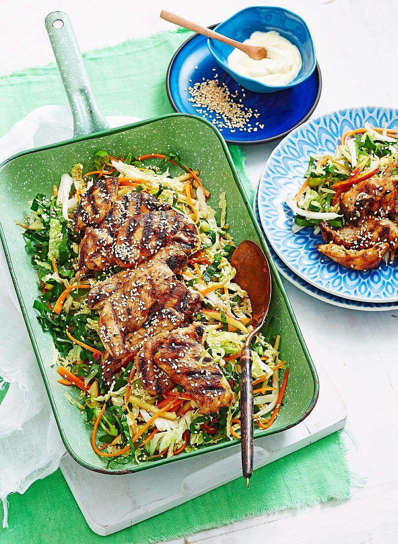 Miso-glazed chicken and apple slaw