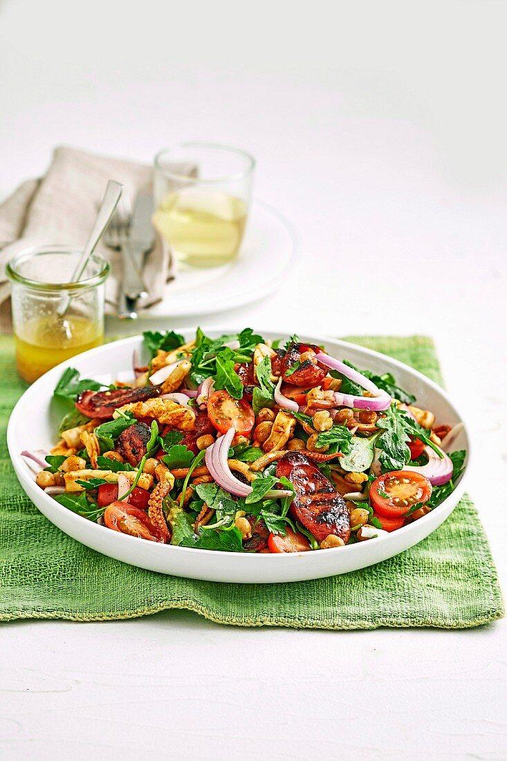 Chorizo, squid and chickpea salads