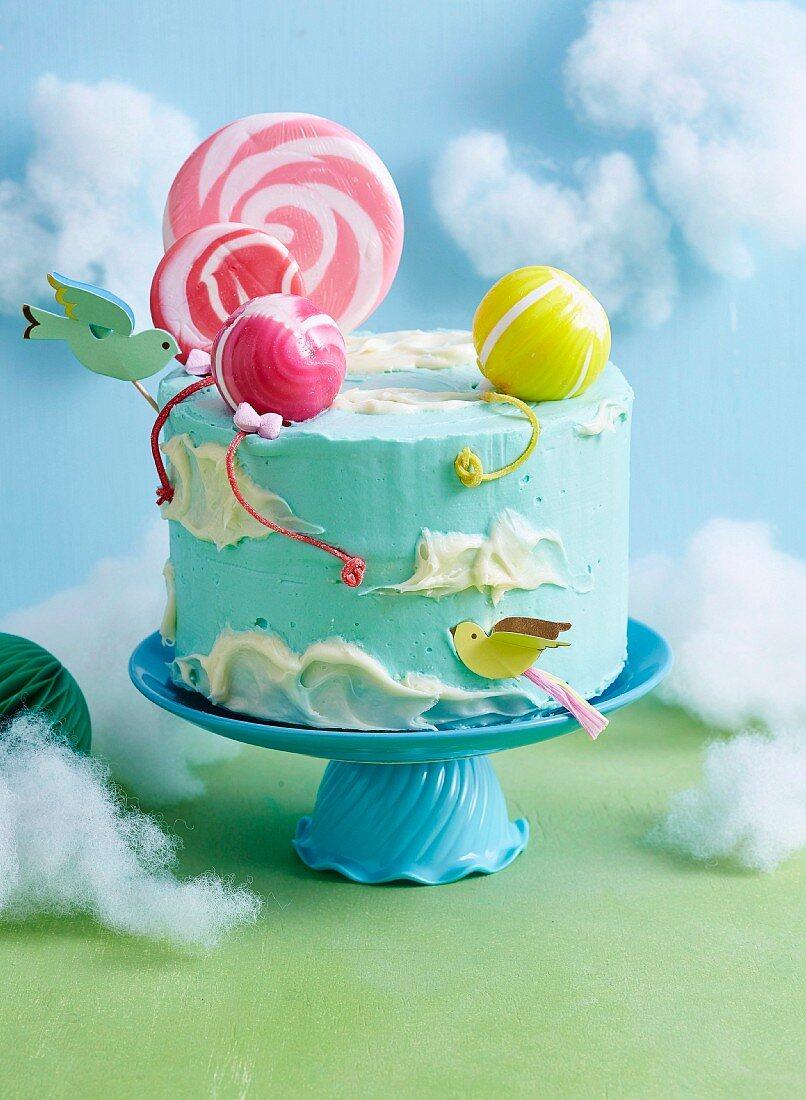 Floating balloon cake